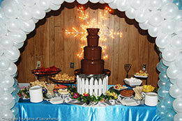 Balloon Arch with Chocolate Fountain